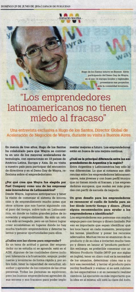 Hugo de los Santos interview - published in La Nación June 29th, 2014